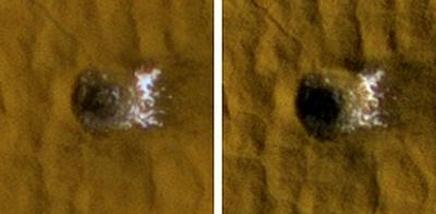 La NASA observa  hielo en un cráter en una latitud media de Marte