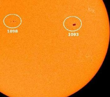 Aparecen cinco manchas solares en un solo día